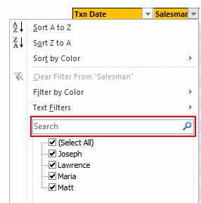Search inside filters (oh, this feels recursive)