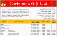Christmas Gift List – Set your budget and track gifts using Excel
