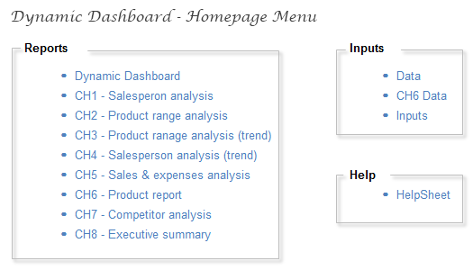 Dynamic Dashboard - Homepage Worksheet