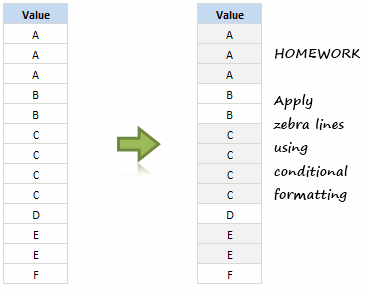 Show Zebra Lines when Value Changes [Excel Conditional Formatting Homework]