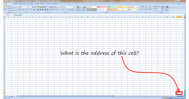 What is the Address of Last Visible Cell in your Excel window?