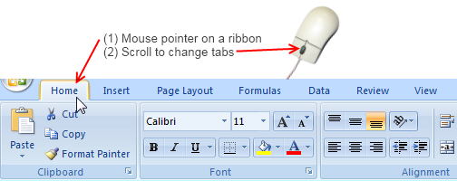 Save time by using mouse scroll wheel to switch between ribbon tabs in Excel (and other office apps)