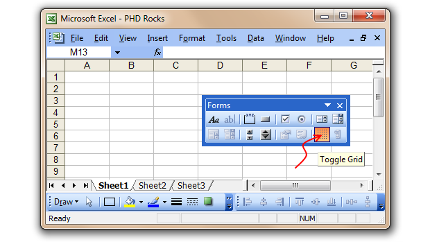 Quickly Turn off Gridlines in Excel 2003 using Forms Toolbar [Excel Tips]