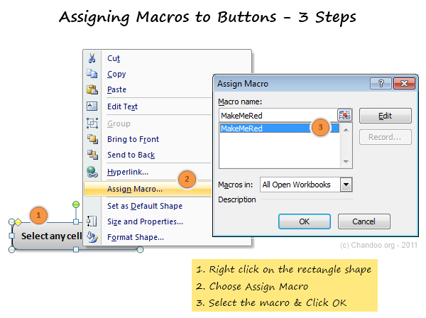 access assign macro to button