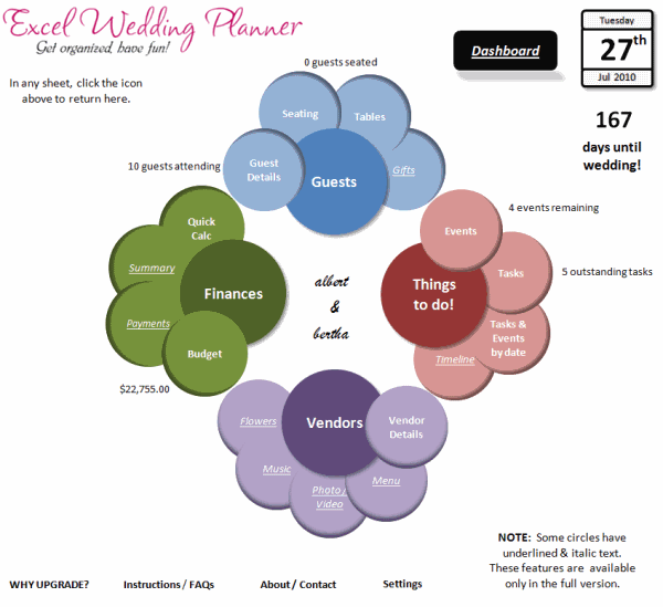 Introducing Excel Wedding Planner - Excel Spreadsheet Based